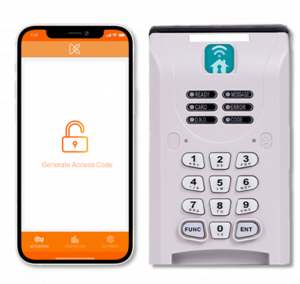 Cellphone with open lock on screen next to the Smart Key Box